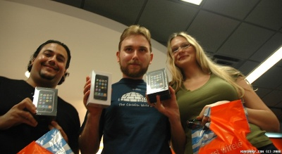 Here we are with our phones. Sorry about the crappy picture.