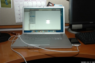 iPhone 3G hooked up to my Mac. Waiting and waiting for iTunes to work.