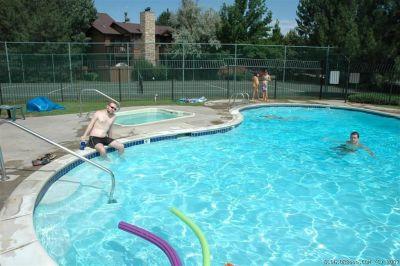 Danya and Eldar in the pool