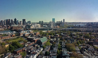 View of Boston from the top of Bunker Hill Monument.