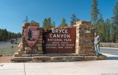 Entering Bryce Canyon National Park. Did you spot the hidden agent?
