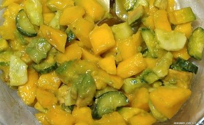 Mango, avocado and cucumber salad