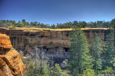 Ancient Indian dwellings built in the cliffs at Mesa Verde NP.
