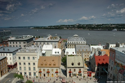 Old Quebec on shores of Saint Lawrence River.