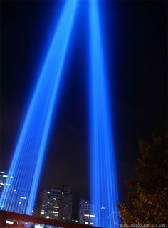 Tribute in Light from West Side Highway