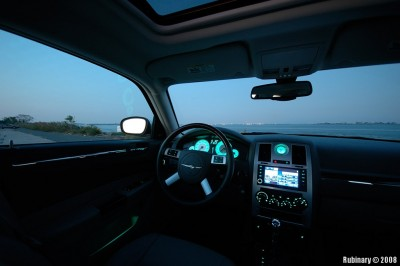 Interior shot at dusk. True color of the dashboard lights.