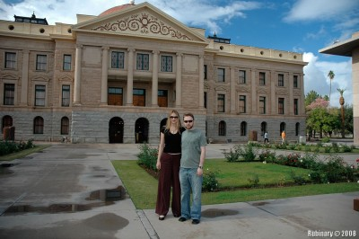 Us in front of Arizona State Capitol building in Phoenix.