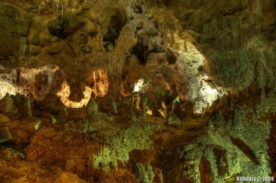 One of the caves in Carlsbad Caverns. Look at the guardrails around the trail to get a sense of scale.