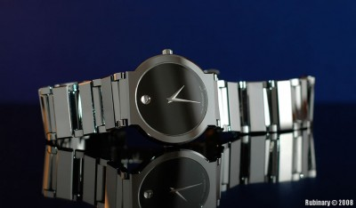 Movado watch photographed inside the lightbox.
