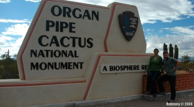 Entrance of Organ Pipe Cactus NM. Bad photo, but the only one we have.