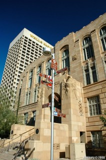 Phoenix City Hall and the post with names of sister cities.