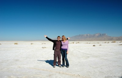 Alena and I on salt flats in Texas along route 180.