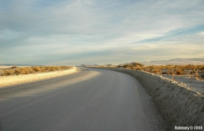 Road through the White Sands National Monument.