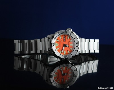 "Seiko ""Orange Monster"" SKX781K diving watch."