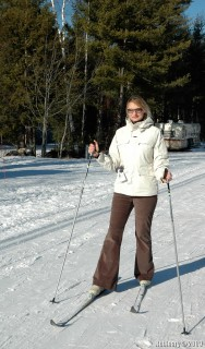 Alёna on skis at Gunstock park.