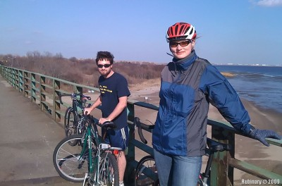 On one of the bridges along the Belt Pkwy bike route.