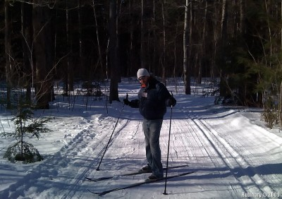 Skiing through the forest on an XC skiing trail at Gunstock.