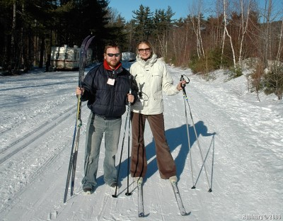 Us at the end of our XC skiing adventure.