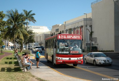 One of the local buses in Cancun.