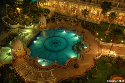 HDR shot of the main hotel pool in the evening.