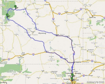 The approximate map of our Yellowstone trip.