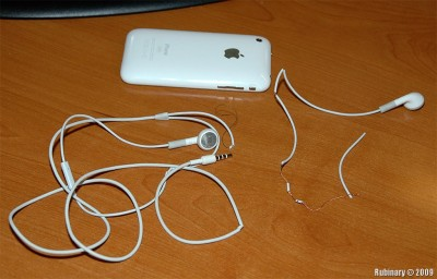 iPhone headphones have clearly failed Shublik compatibility test.