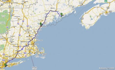 The route of our Maine trip.