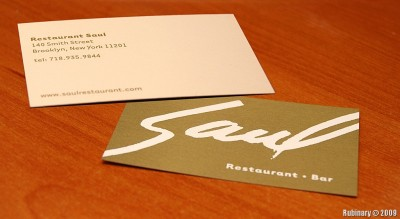 Restaurant Saul business card.