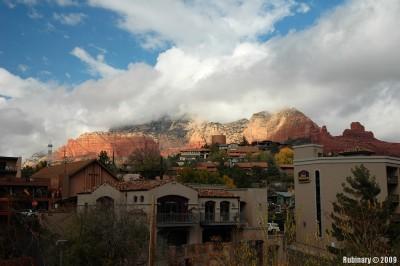 Sedona under heavy rain clouds.