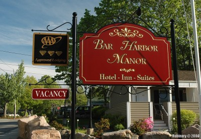 Bar Harbor Manor. Sign in front of our inn.