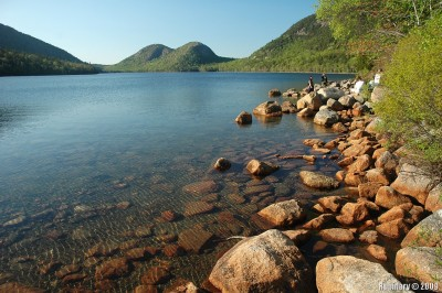 On a hiking trail around Jordan Pond in Acadia.