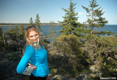 On one of the hiking trails on Schoodic Peninsula.