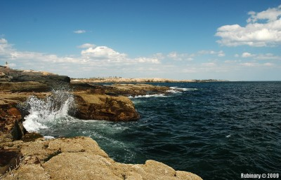 Waves breaking on the rocks on Schoodic Peninsula.