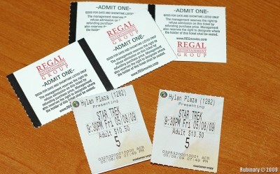 Movie tickets for screening of Star Trek.