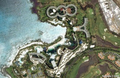 Satellite image of Hilton resort on Big Island.