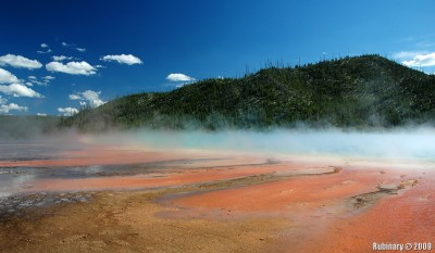 Red and blue fog over Grand Prismatic Spring.