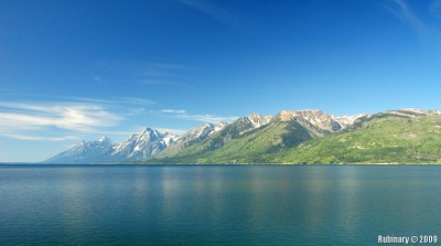 Grand Teton Mountains reflecting in Jackson Lake.