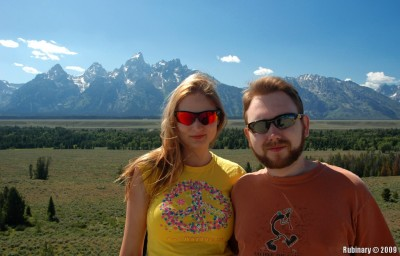 Grand Teton and Middle Teton mountains in the background.