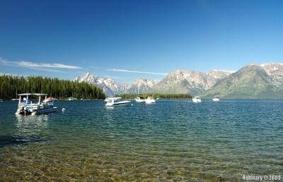 Grand Teton mountains. View from Leeks Marina.