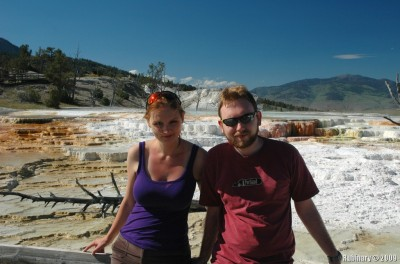 Us at Mammoth Hot Springs.
