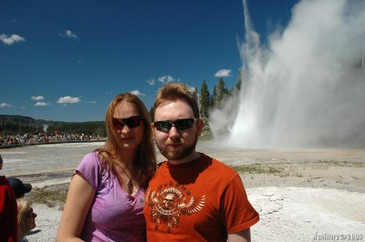 Us during Grand Geyser eruption.