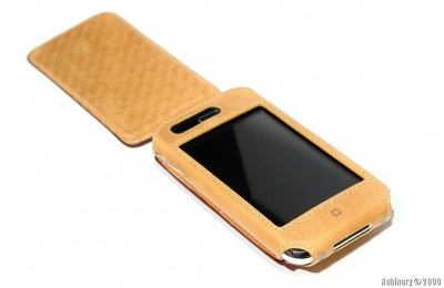 Open case with a phone inside.