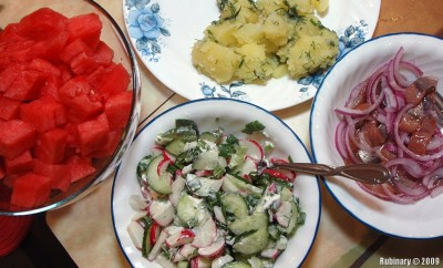 Potatoes, herring & radish salad.