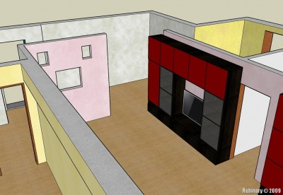 Living room and IKEA wall unit in Sketch Up.