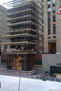 Christmas Tree being installed near Rockefeller Center.