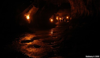 Inside the lava tube.
