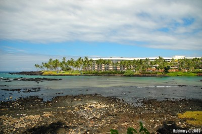 Ocean tower of Hilton's Waikoloa Village on the shores of the Pacific Ocean.