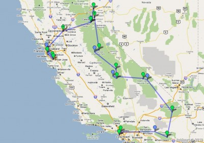 California trip plan diagram.