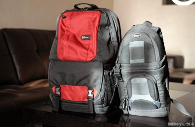 Lowepro Fastpack 250 next to Lowepro SlingShot 100 AW.