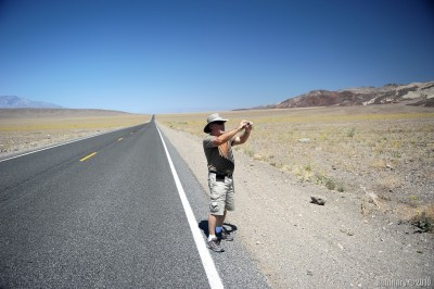 Papa taking a photo of something in Death Valley in his new hat.